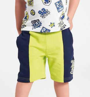 Pantalone corto comodo e pratico 100% cotone ido VERDE-BLU-8014