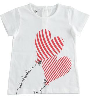 T-shirt con palloncini a cuore 100% cotone ido BIANCO-0113