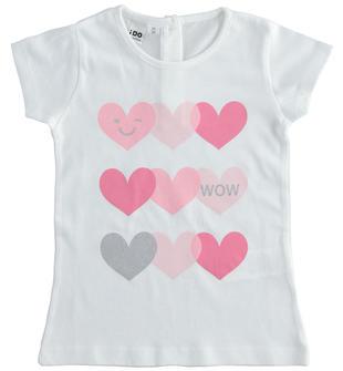 T-shirt con cuori 100% cotone ido BIANCO-0113