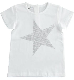 T-shirt 100% cotone con stella ido BIANCO-0113