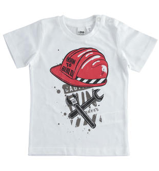 T-shirt 100% cotone Born To Build ido BIANCO-0113