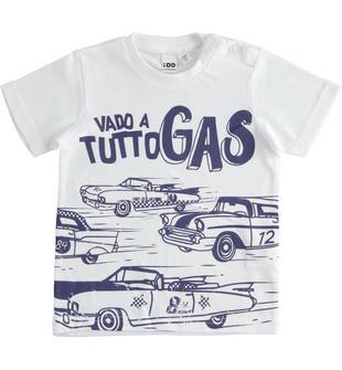 T-shirt 100% cotone Vado a Tutto Gas ido BIANCO-0113
