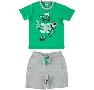 Completo con allegra stampa t-shirt e pantaloncino ido VERDE-GRIGIO-8073