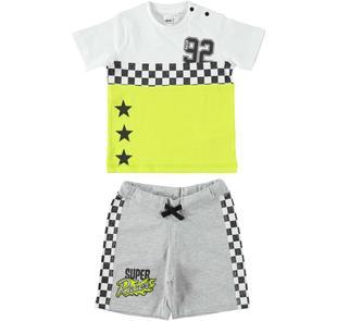 Completo t-shirt e pantaloncino tema corse ido BIANCO-GRIGIO-8011