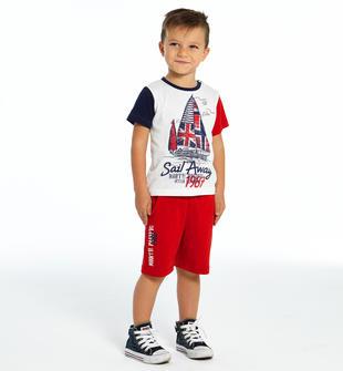 Completino t-shirt e pantaloncino tema mare ido BIANCO-ROSSO-8025