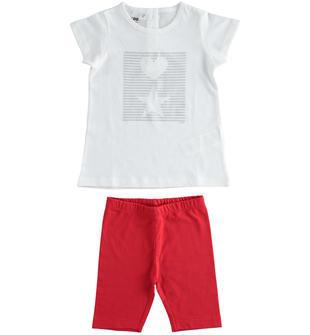 Completo in jersey 100% cotone t-shirt con cuore e stella e leggings ciclista ido BIANCO-0113