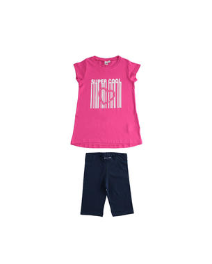 Completo 100% cotone maxi t-shirt e leggings ciclista ido FUXIA-2438