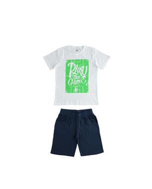 Sportivo completo 100% cotone t-shirt e pantalone corto ido BIANCO-0113