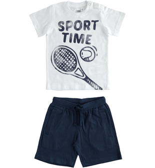 Completo 100% cotone t-shirt Sport Time e pantalone corto ido BIANCO-0113