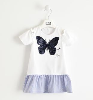 Abito con farfalla e tessuto rigato ido BIANCO-0113