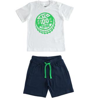 Completo in jersey 100% cotone t-shirt e pantalone corto ido BIANCO-0113