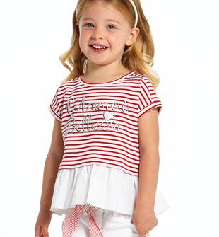 T-shirt con balza e romantica stampa ido ROSSO-BIANCO-8029