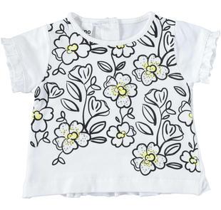T-shirt a fiori con strass ido BIANCO-0113