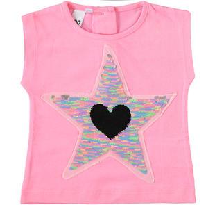 T-shirt 100% cotone con cuore e stelle di paillettes reversibili ido ROSA BUBBLE-2421