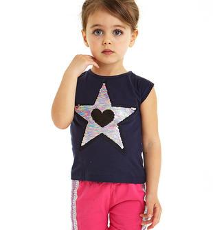 T-shirt 100% cotone con cuore e stelle di paillettes reversibili ido NAVY-3854
