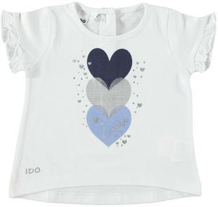 T-shirt 100% cotone con cuori e strass ido BIANCO-0113