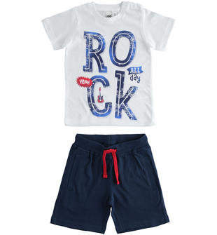 Completo Rock t-shirt e pantalone corto 100% cotone ido BIANCO-0113