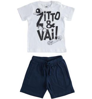 Simpatico completo t-shirt e pantalone corto 100% cotone ido BIANCO-0113