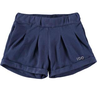 Pantalone corto in felpa stretch tinta unita ido NAVY-3854