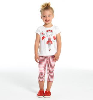 Delizioso completo maxi t-shirt con fiori e leggings ido BIANCO-ROSSO-8025