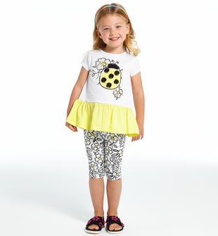 Completo maxi t-shirt con coccinella e leggings ido BIANCO-NERO-8057