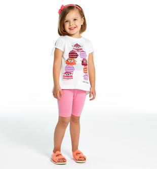 Completino maxi maglia con colorata stampa e leggings ido BIANCO-ROSA-8002