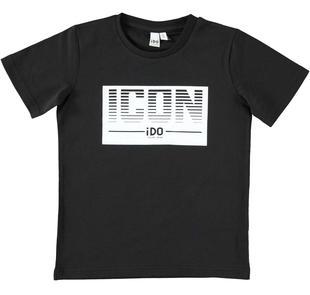 T-shirt 100% cotone con maxi stampa ido NERO-0658