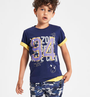 Colorata t-shirt con stampa ido NAVY-3547