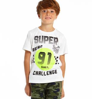 T-shirt racing 100% cotone ido BIANCO-0113