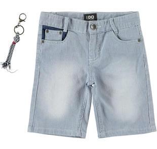 Pantalone corto in denim rigato con portachiavi ido STONE WASHED-7450