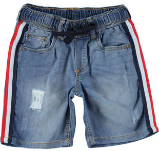 Bermuda in denim con costina laterale ido STONE WASHED CHIARO-7400