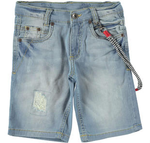 Denim corto vestibilità slim con portachiavi ido BLU CHIARO LAVATO-7310