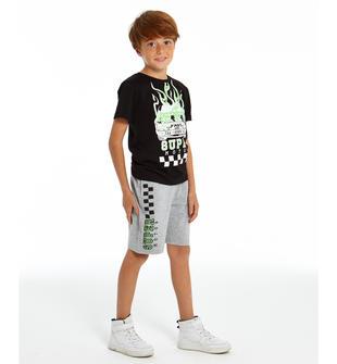 Grintoso completo t-shirt e pantalone corto ido BIANCO-GRIGIO-8011