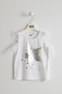 Romantica t-shirt con stella laminata ido BIANCO-0113