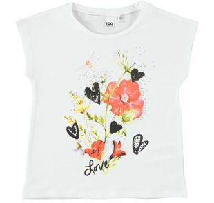 T-shirt fantasia floreale ido BIANCO-0113