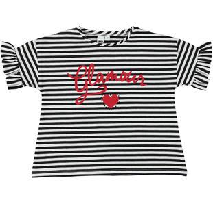T-shirt rigata con stampa glamour ido NERO-0658
