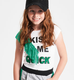 T-shirt con rouche di pizzo ido BIANCO-0113