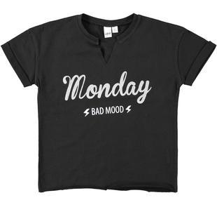 T-shirt 100% cotone con giorno della settimana ido NERO-0658