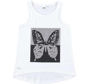 Canotta 100% cotone con stampa farfalla ido BIANCO-0113