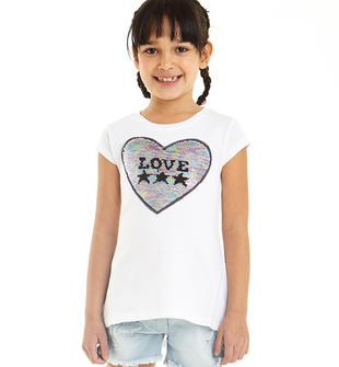 T-shirt con cuore di paillettes reversibili e scritta Love ido BIANCO-0113