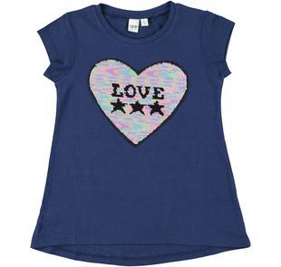 T-shirt con cuore di paillettes reversibili e scritta Love ido NAVY-3854