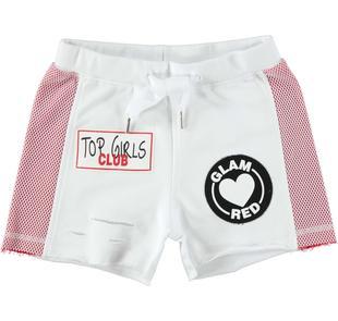 Shorts 100% cotone con rete e patches ido BIANCO-0113
