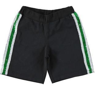 Pantalone corto con bande di pailettes ido NERO-0658