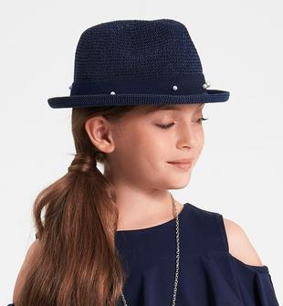 Cappello in paglia con perle e fiori ido NAVY-3854