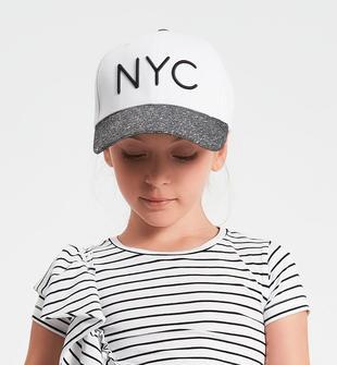 Cappello per bambina 100% cotone NYC ido BIANCO-ARGENTO-8406