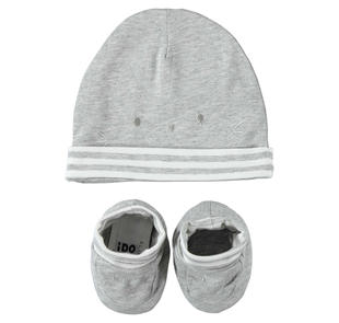 Simpatico kit cappellino e scarpine ido GRIGIO MELANGE-8992