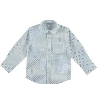 Camicia in popeline con fantasia patchwork dodipetto BIANCO-BLU-6R96