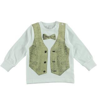 Maglietta 100% cotone con finto gilet dodipetto BIANCO-BEIGE-8033