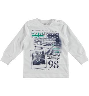 Maglietta in cotone con stampa tema canottaggio dodipetto BIANCO-0113