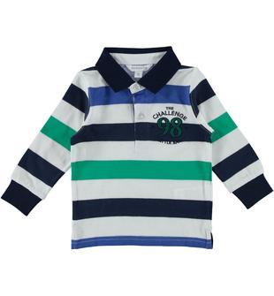 Polo rigata in jersey 100% cotone dodipetto VERDE-5037